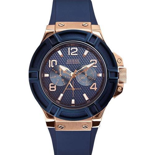 bb5749930cd Relógio Masculino Guess Analógico 92479GPGSRU6 Aço rose pulseira azul