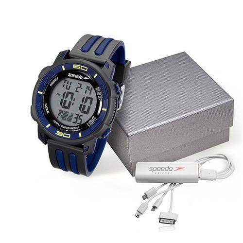 Relógio Masculino Speedo 80603G0EVNP3 Kit com Carregador de Celular