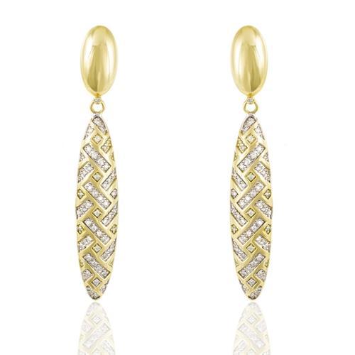 Par de Brincos com Diamantes totalizando 1,0 Cts., em Ouro Amarelo