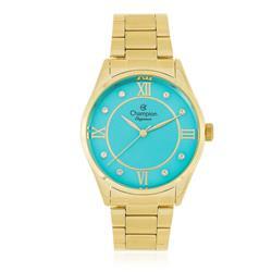 Relógio Feminino Champion Elegance CN25038F Fundo Turquesa