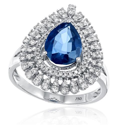 Anel com Diamantes totalizando 1,20 Cts. e Safira de 3,20 Cts., em Ouro  Branco 74938d5901