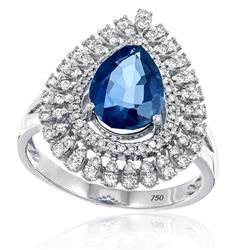 Anel com Diamantes totalizando 1,20 Cts. e Safira de 3,20 Cts., em Ouro Branco