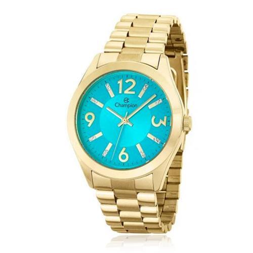 Relógio Feminino Champion Elegance CN25225F Fundo Turquesa