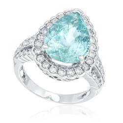Anel com Diamantes Totalizando 1,6 Cts. e Turmalina Paraíba de 6,94 Cts., em Ouro Branco