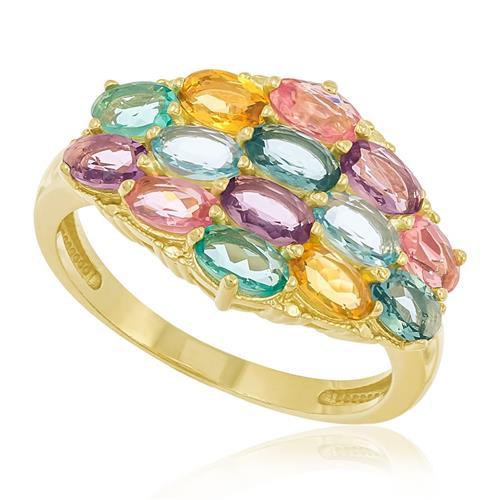 Anel Pavê Mix de Gemas com 2 Diamantes, Acabamento polido