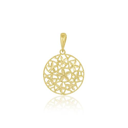 Pingente Mandala Trabalhado em Ouro Amarelo ac614134ac