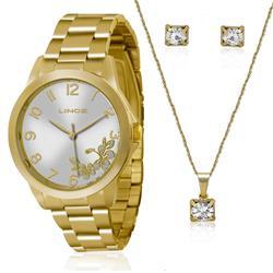 Relógio Feminino Lince Analógico LRGJ041L K121 Kit Colar e Par de Brincos