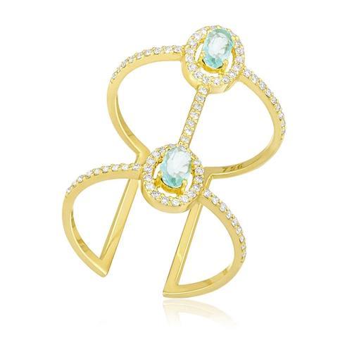 Anel com 78 Diamantes e Turmalinas Paraíba totalizando 40 pts., em Ouro Amarelo