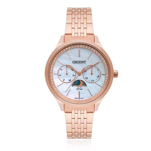 Relógio Feminino Orient Analógico Swarovski FRSSM026 B1RX Aço Rose