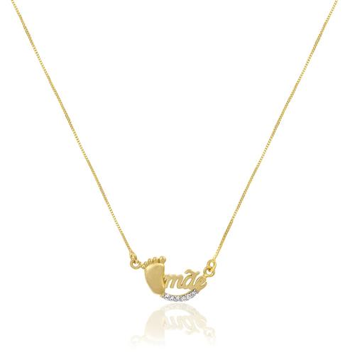 Gargantilha Mãe com Pézinho e Diamantes, em Ouro Amarelo
