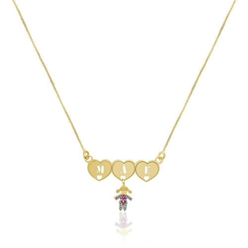 Gargantilha Mãe de Menina com 2 Rubis, em Ouro Amarelo