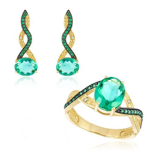 Conjunto Par de Brincos e Anel com Diamantes e Cristais Turmalina Paraíba, Anel, par de brincos e pingente
