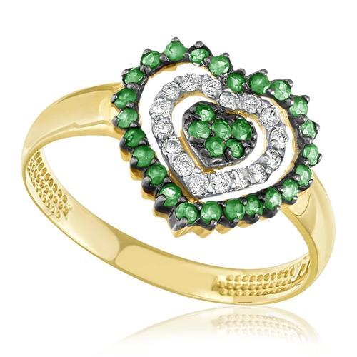Anel de Ouro modelo Coração com 30 Esmeraldas e 16 Diamantes
