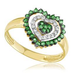 Anel Coração com 30 Esmeraldas e 16 Diamantes, em Ouro Amarelo