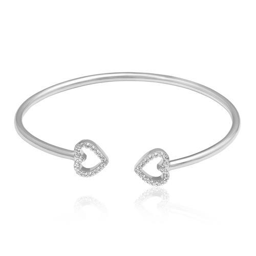 Bracelete Dois Corações, em Prata