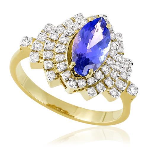 Anel de Tanzanita Navete e 35 pontos de Diamantes, em Ouro Amarelo