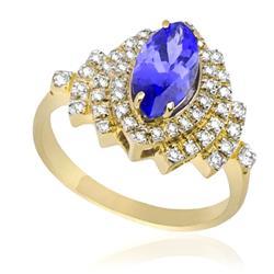 Anel de Tanzanita Navete e 35 Pontos de Diamantes, Ouro Amarelo