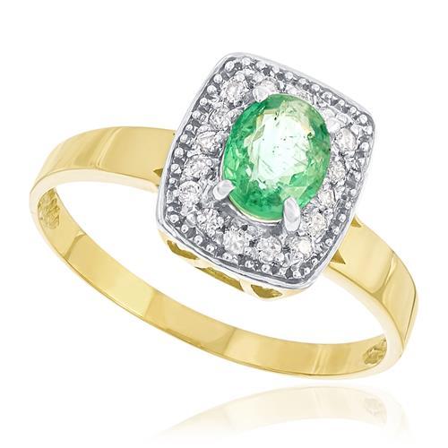 Anel com 16 Diamantes e Esmeralda Central,em Ouro Amarelo