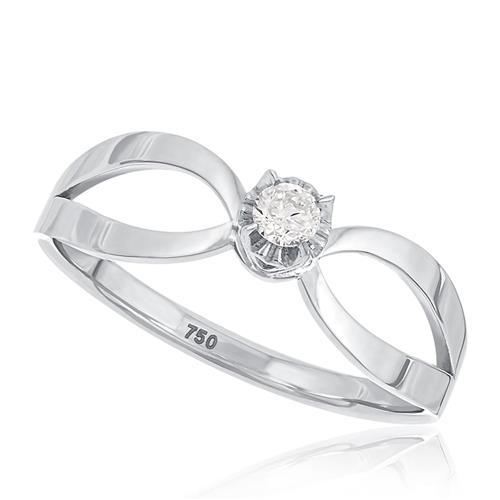Anel Solitário com Diamante de 10 pts., em Ouro Branco