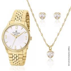 Relógio Feminino Champion Elegance CN26073W Kit Colar e Par de Brincos