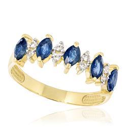 Meia Aliança com 8 Diamantes e 5 Safiras, em Ouro Amarelo