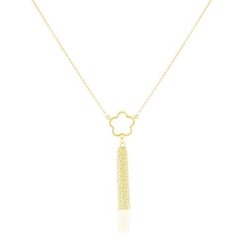 Gargantilha gravatinha elos redondos com Estrela, em Ouro Amarelo
