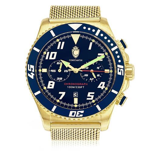Relógio Masculino Constantim Gold Blue ZW30214A Dourado