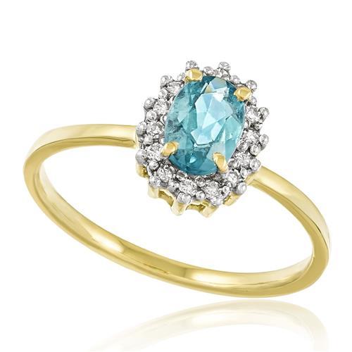 Anel com Diamantes totalizando 20 pts. e Turmalina Paraíba de 80 pts., em Ouro Amarelo