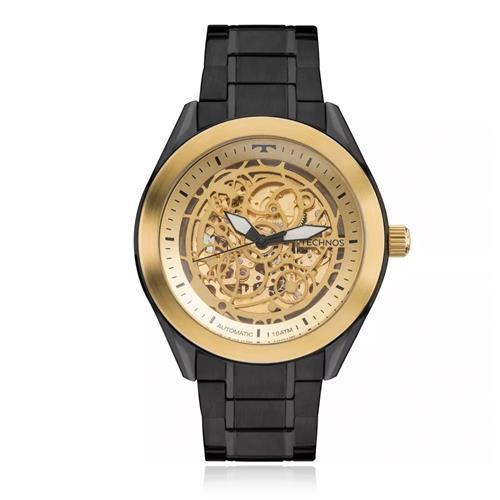 Relógio Masculino Technos Esqueleto Black Automático 8N24AI/4X Aço Negro