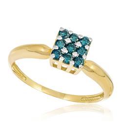 Anel Chuveiro Quadrado com 9 Diamantes Azuis totalizando 50 pts., em Ouro Amarelo