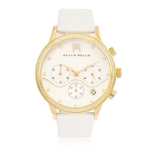 Relógio Feminino Phillip Kollin Santorini ZY28001M Gold White