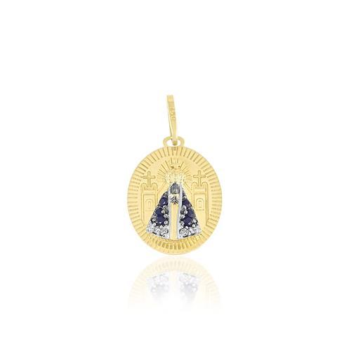 Pingente Nossa Senhora com 4 Diamantes e 6 Safiras, em Ouro Amarelo