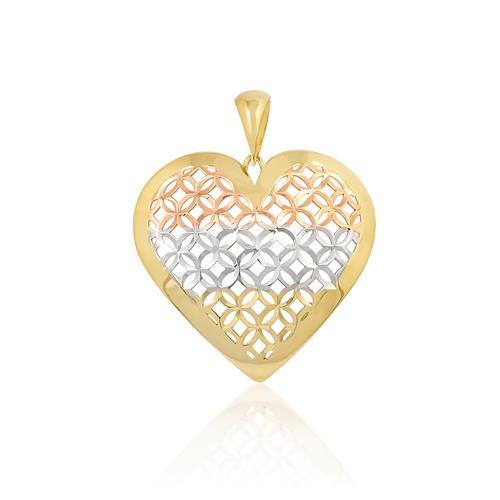 Pingente Coração em Ouro 3 Cores