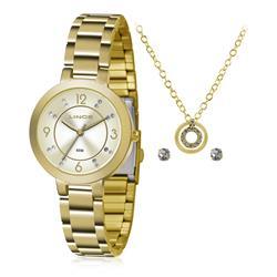 Relógio Feminino Lince Analógico LRG4516L KU72 Kit Colar e Par de Brincos