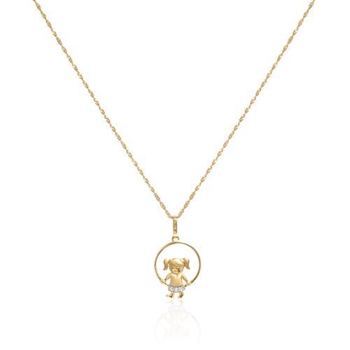 Pingente Menininha com 3 Diamantes em Ouro Amarelo 53764