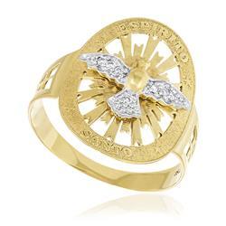 Anel Espírito Santo com 7 Diamantes, em Ouro Amarelo