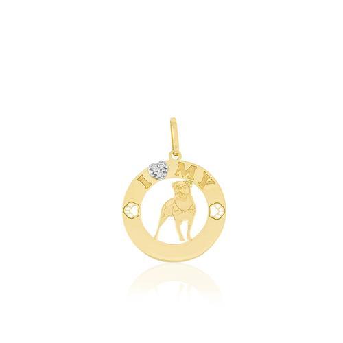 Pingente I Love My Pet Rottweiler com 3 Diamantes, em Ouro Amarelo