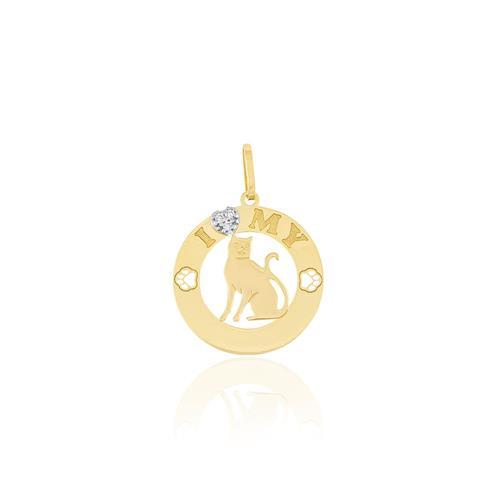 Pingente I Love My Cat com 3 Diamantes, em Ouro Amarelo