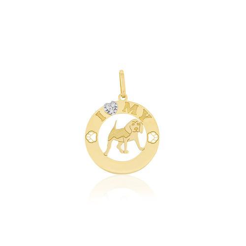 Pingente I Love My Pet com 3 Diamantes, em Ouro Amarelo