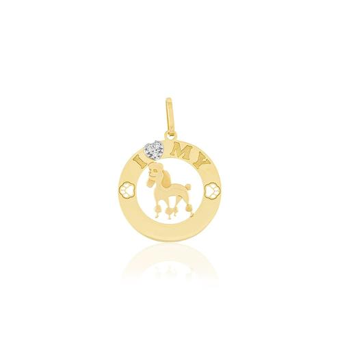 Pingente I Love My Pet Poodle com 3 Diamantes, em Ouro Amarelo