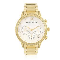 Relógio Feminino Phillip Kollin Santorini ZY28010H Gold White Diamond