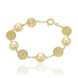 Pulseira com Esferas Polidas e Vazadas, em Ouro Amarelo