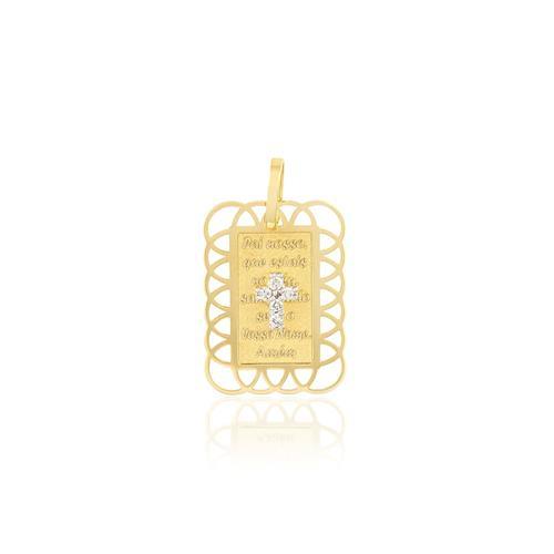 Pingente Plaquinha com Cruz com 5 Diamantes, em Ouro Amarelo