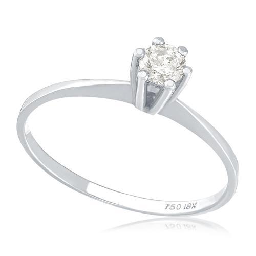 Anel Solitário com Diamante de 10 Pts, em Ouro Branco