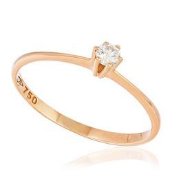 Anel Solitário com Diamante de 10 Pts, em Ouro Rose
