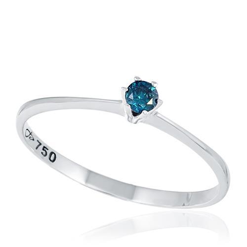 Anel Solitário com Diamante Azul de 7 Pts, em Ouro Branco
