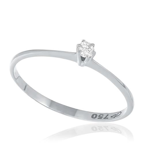 Anel Solitário com Diamante de 5 Pts, em Ouro Branco