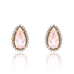 Par de Brincos com Diamantes Chocolates e Quartzos Rosa Gota, em Ouro Rose