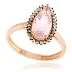 Anel com Diamantes Chocolate totalizando 15 pts. e Quartzo Rosa de 1,75 Cts., em Ouro Rose
