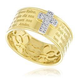 Anel Aro 14 Pai Nosso Cruz com 7 Diamantes, em Ouro Amarelo com Detalhe em Ródio